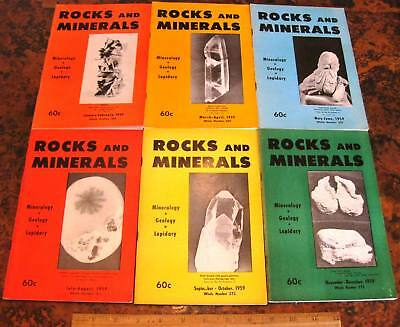ROCKS & MINERALS MAGAZINES Vol 34 All 6 Issues Complete 1959 Mineralogy Lapidary