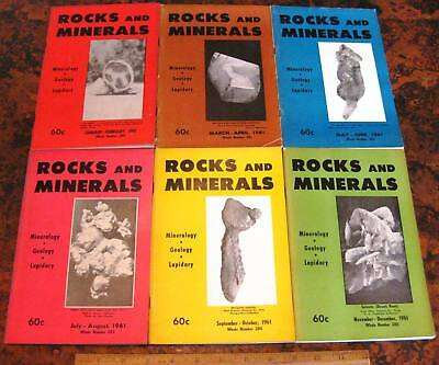 ROCKS & MINERALS MAGAZINES Vol 36 All 6 Issues Complete 1961 Mineralogy Lapidary