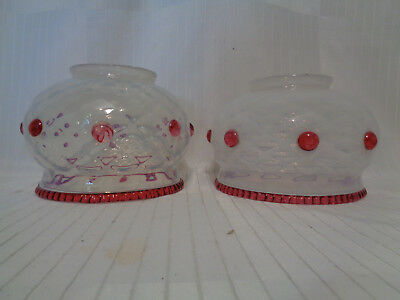 """Pair Of Fine Tiffany Era Opalescent Diamond Quilted Art Glass Shades, 4"""" Fitters"""