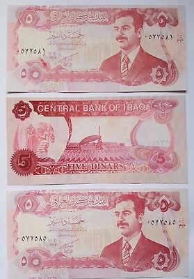Saddam Hussein 5 Dinar IRAQI  notes. 3 consecutive notes in mint condition