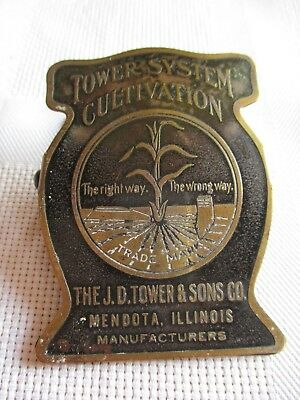 Antique Agriculture Brass Clip. Tower System Cultivation, Mendota, Illinois