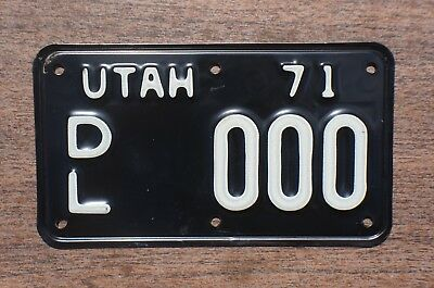 1971 Embossed Dated Utah MOTORCYCLE DEALER Sample License Plate # 000