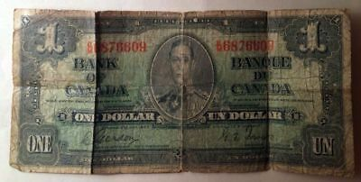 Bank Of Canada 1937 $1 One Dollar Bill - Circulated Condition