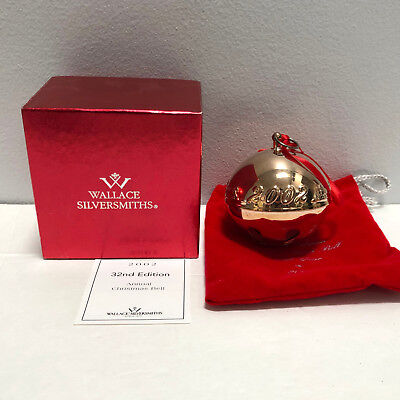 Wallace Silver Annual Christmas Sleigh Bell 2002 Ornament 32nd Limited Edition