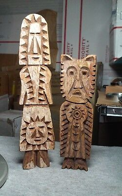2 interesting vintage wood carving sculptures by the Tarahumara indians Mexico