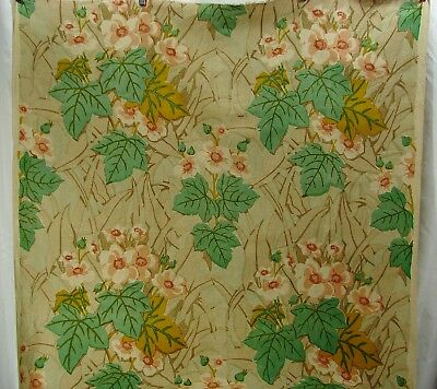 Vtg Glendale Hand Printed Linen Arts & Crafts Style Floral Soft Colors-46x2.6Yds