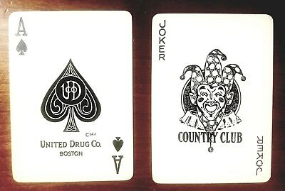 antique 1906 REXALL wide United Drugs PLAYING CARDS exc. in BOX, 52+J, pinup