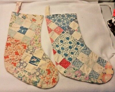 VTG/Antique Quilt Feed Sack Fabric Christmas Stocking Hand made 35+ years old