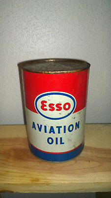 Vintage ESSO AVIATION OIL 1 Quart Metal Can Imperial Oil Empty Free Shipping
