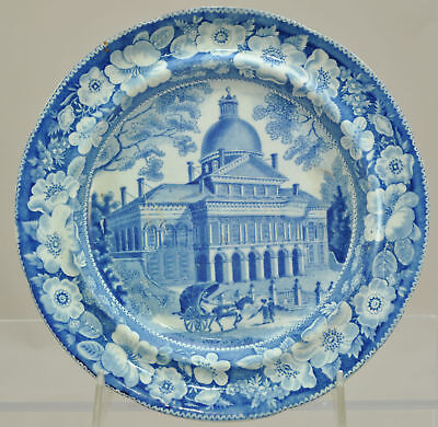 Wood Historical Blue Staffordshire Boston State House Plate 1820