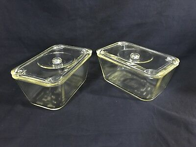 Pair Glasbake Vintage Loaf/refrig Dishes With Lids #805 Usa 1930's - '40's