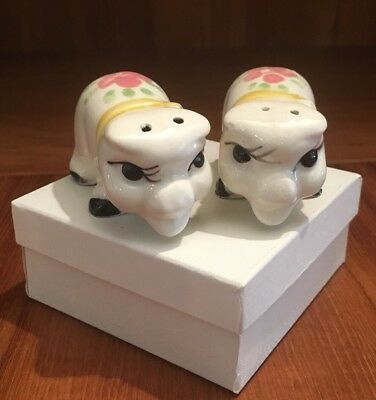 Vintage Salt And Pepper Shakers Anthropomorphic Pigs Hand Painted