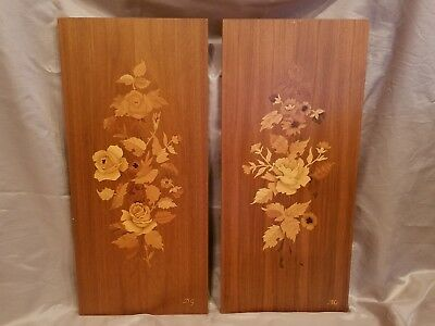 Buchschmid and Gretaux Floral Wooden Inlay Pictures Vintage