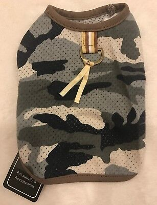 Tan & Gray Mesh Camo Dog Shirt w/ Light Leash Loop - XS Teacup - Anima - NWT