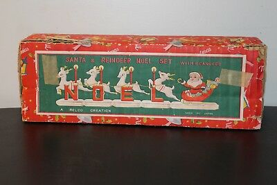 Santa & Reindeer Noel Set Candle Holder Relco