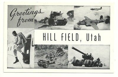 Postcard Hill Field Utah Army Air Base Greetings Airplane Jeep Tank