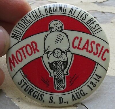 Vtg Sturgis South Dakota Motor Classic Motorcycle Race Celluloid Pin Back Button