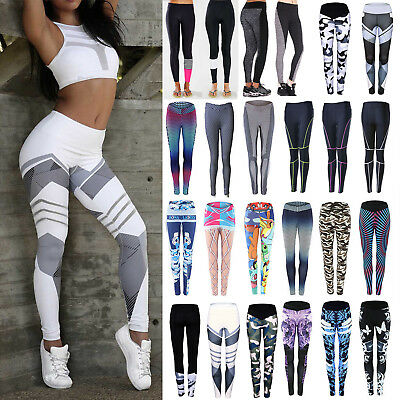 Womens Yoga Workout Fitness Gym Leggings Jogging Sports Tight Pants Trousers