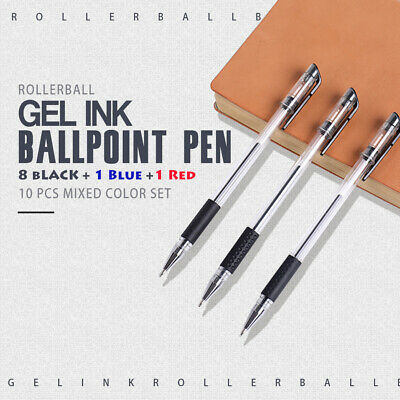 10Pcs 0.5mm Gel Ink Pens Rollerball Ballpoint Pen School Student Stationery