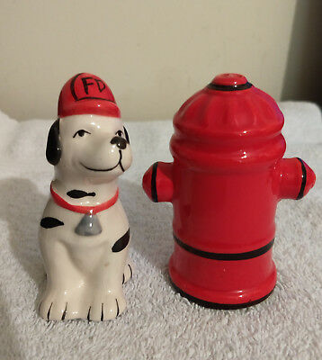 Vintage Fire Department Dalmatian and Fire Hydrant Salt and Pepper Shakers