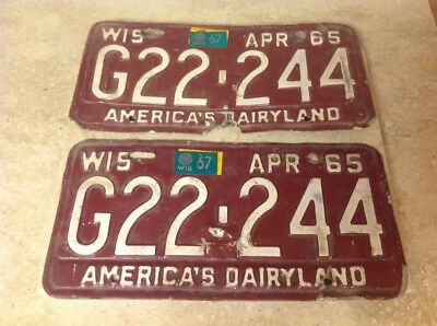 1965 1967 Wisconsin Wi Wis. America's Dairyland License Plate Tag G 22 244