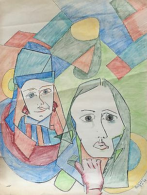 Vintage 1970s Abstract Cubist Drawing Retro Art Mid Century Modern Signed As-Is
