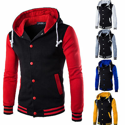 Mens Hooded Hoodie Sweater Coat Track Coat University College Baseball Jacket US