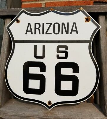 Old Historic Arizona Route 66 Highway Road Sign Thick Porcelain Heavy Steel