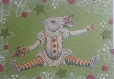 Aceo Original Collage, Bunny Clown, Signed By Artist A. Smith