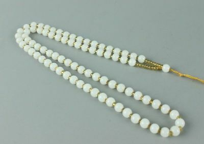 Chinese 6mm Hand-woven White Jade Beads + Line Necklace Chain Luck Jewelry Gift