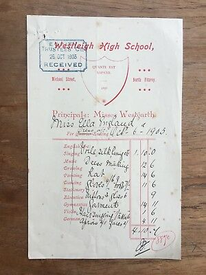 1903 Westleigh High School North Fitzroy Report Card Uniform Receipt Invoice F63