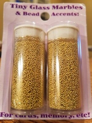 Halcraft GOLDEN DAYS Tiny Glass Marbles & Bead Accents 40 grams Style 83614