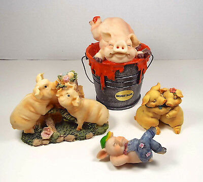 PIG COLLECTION 4 Pc Lot Figurines Bank 1992 Pigsville 2001 Cornerstone Creations