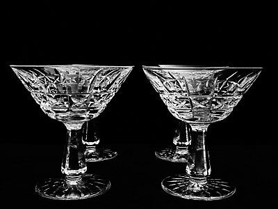 "4 Brilliant Waterford Crystal ""kylemore"" Champagne / Tall Sherbets ~ Ireland"