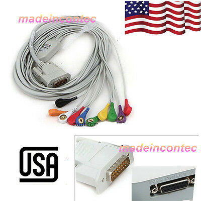 Snap Type ECG Machine Cable 12-lead wire ECG Electrocardiograph Gilding USA