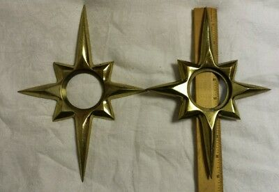 VTG MCM Atomic Starburst Star Door Knob Backplate Brass 2 Piece Set