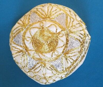 Vintage Gold And Silver Thread Embroidered Kippah Yarmulke White High Holidays
