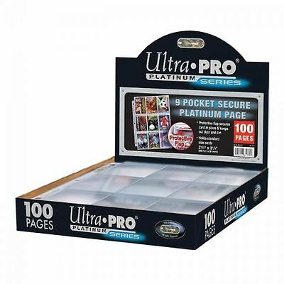 100 Ultra 3 Holes Pro 9 Pocket Secure Platinum Sleeves with Protective Flaps