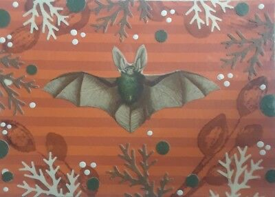 Aceo Original Collage, Green-Belly Bat, Signed By Artist  A. Smith