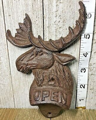 Cast Iron Moose Old Vintage Rustic Metal Bottle Opener Mountain Cabin Man Cave