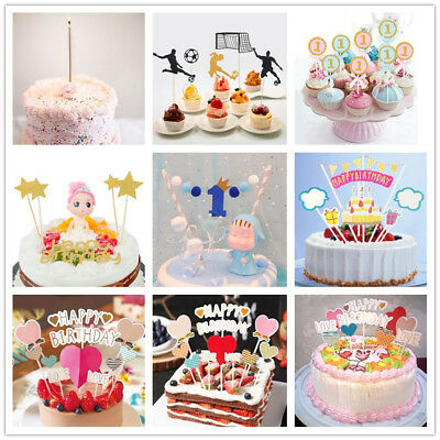 Multi-Style Kids Birthday Cake Toppers Set Cute Cupcake Decoration Insert Topper