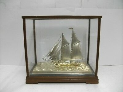 The sailboat of Silver of Japan. #158g/ 5.56oz. 2masts.Japanese antique
