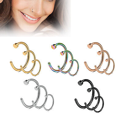 2PCS Nose Ring Hoop Surgical Steel Piercing Bar 20G 8mm 10mm Body Jewellery