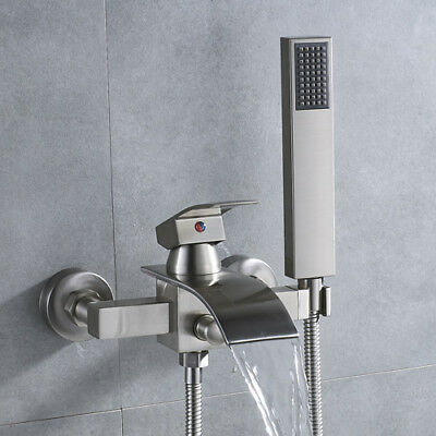 Brushed Nickel Tub Shower System Brass Hand Sprayer Wall Mount Waterfall Spout