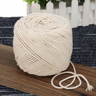 2/3/4/5/6/8/10mm Macrame Craft Rope Natural Beige DIY Cotton Twisted Cord Hand
