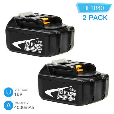 2x BL1840 4.0Ah Replace for Makita 18V Lxt Lithium Battery BL1860 BL1830 BL1850
