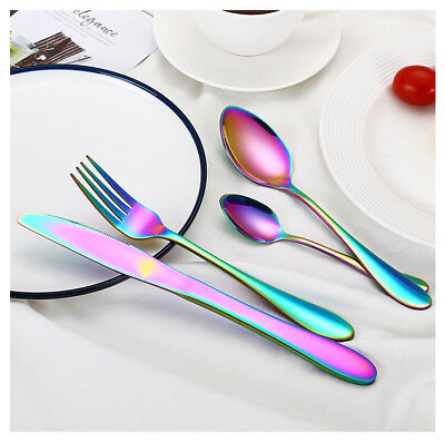 Stainless Steel Cutlery Sets Rainbow Colorful Iridescent Forks 4/8/16/32 piece