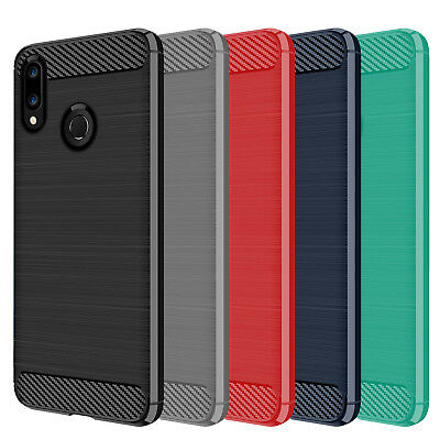 DD Carbon Fibre For Huawei P Smart 2019 TPU Rugged Gel Case Silicone Skin Cover