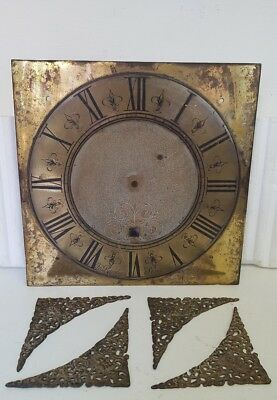 "18th Century Single Hand 10"" Brass Grandfather Clock Dial - John Ranlins, Stone"