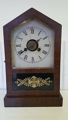 Small Vintage Architectural 8 Day Table Clock with Alarm